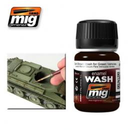 AMMO.MIG Enamel Wash Dark Brown Wash for Green vehicles