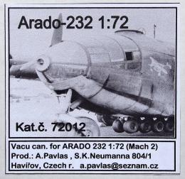 AP MODEL 1/72 Vacu canopy for Arado Ar-232 for Mach2
