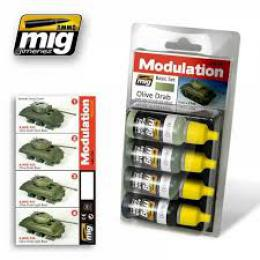 AMMO.MIG Olive Drab Modulation Set 4x17ml Color set
