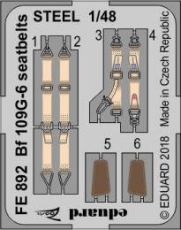 EDUARD ZOOM 1/48 Bf 109G-6 seatbelts STEEL for TAM