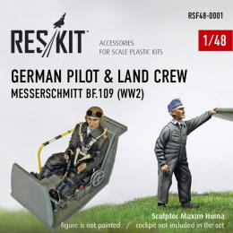 RESKIT 1/48 German Pilot & Land Crew for Bf-109 (2 fig.)