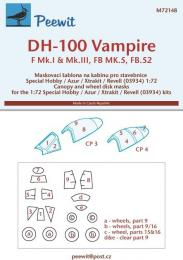 PEEWIT 1/72 Canopy mask DH-100 Vampire (SP.HOB/AZUR/REV)