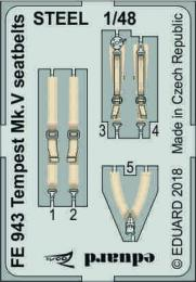 EDUARD ZOOM 1/48 Tempest Mk.V Seatbelts STEEL for EDU