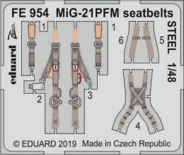 EDUARD ZOOM 1/48 MiG-21PFM seatbelts STEEL for EDU