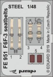 EDUARD ZOOM 1/48 F6F-3 Hellcat seatbelts STEEL for EDU
