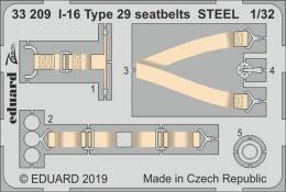 EDUARD Lepty 1/32 I-16 Type 29 seatbelts STEEL for ICM