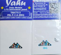 YAHU 1/72 PZL.11a Instrument panel for IBG