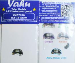 YAHU 1/72 Yak-1B Early Instrument Panel for ARMA