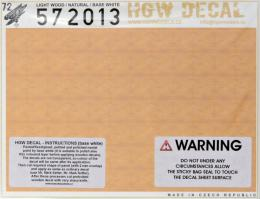 HGW 1/72 Decals Light Wood - NATURAL (base white)