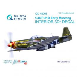 QUINTA STUDIO 1/48 P-51D Early Tail Mustang 3D Interior Decal for EDU