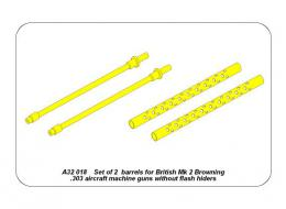 ABER 1/32 A32018 Set of 2 barrels for British Mk 2 Browning .303 aircraft machine guns without flash hiders