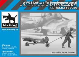 BLACKDOG 1/32 Luftwaffe  WWII personel+bomb loader+SC250 No.1