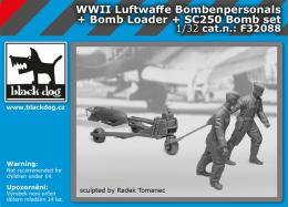 BLACKDOG 1/32 Luftwaffe  WWII personel+bomb loader+SC250 Set