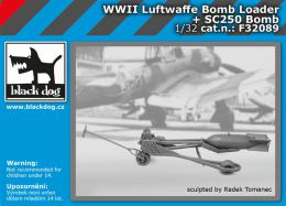BLACKDOG 1/32 Luftwaffe WWII bomb loader+ bomb SC250