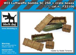 BLACKDOG 1/32 Luftwafe WWII bombs SC250 + crate boxes
