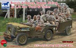 BRONCO 1/35 British Airborne Troops Riding In 1/4 Ton Truck & Trailer