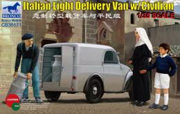BRONCO 1/35 Italian Light Delivery Van with Civilian Figures