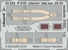 EDUARD SET 1/32 P-51D Mustang interior late 20-35 seatbelts STEEL for TAM