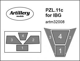 FLY 1/32 Canopy mask for PZL.11c  for IBG
