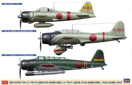 HASEGAWA 1/48 A6M Zero Fighter Model 21 + Aichi D3A Model 11 + Nakajima B5N Kate Model 3  Attack on Pearl Harbor