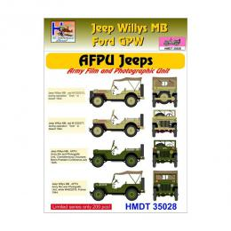 HM DECALS 1/35  Jeep Willys MB/Ford GPW AFPU Jeeps