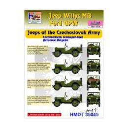 HM DECALS 1/35  Jeep Willys MB/Ford GPW CZ Army Brigade