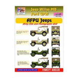 HM DECALS 1/48  Jeep Willys MB/Ford GPW AFPU Jeeps