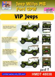 HM DECALS 1/48  Jeep Willys MB/Ford GPW VIP Jeeps 1