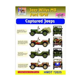 HM DECALS 1/72  Jeep Willys MB/Ford GPW Captured Jeeps