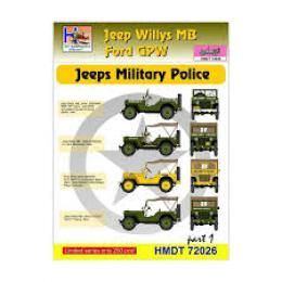 HM DECALS 1/72  Jeep Willys MB/Ford GPW Military Police 1