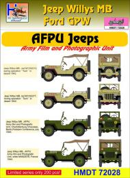 HM DECALS 1/72  Jeep Willys MB/Ford GPW AFPU Jeeps