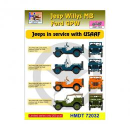 HM DECALS 1/72  Jeep Willys MB/Ford GPW in USAAF service