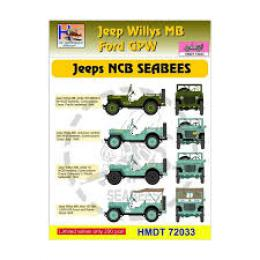 HM DECALS 1/72  Jeep Willys MB/Ford GPW NCB SEABEES