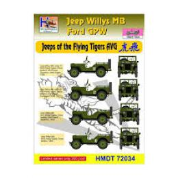 HM DECALS 1/72  Jeep Willys MB/Ford GPW Flying Tigers