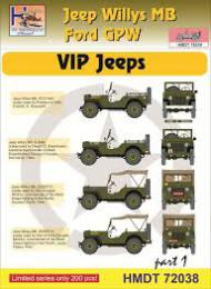 HM DECALS 1/72  Jeep Willys MB/Ford GPW VIP Jeeps 1