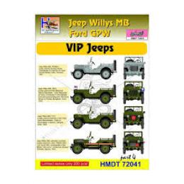 HM DECALS 1/72  Jeep Willys MB/Ford GPW VIP Jeeps 4