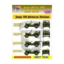 HM DECALS 1/72  Jeep Willys MB/Ford GPW 101 Airborne Div/