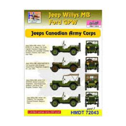 HM DECALS 1/72  Jeep Willys MB/Ford GPW Can/Army Corps 1