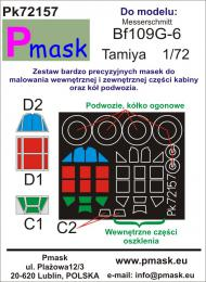 PMASK 1/72 Pk72157 Canopy Mask Messerschmitt Bf109G-6 for TAM Oracal