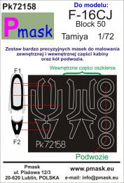 PMASK 1/72 Pk72158 Canopy Mask F-16CJ Block 50 for TAM Oracal
