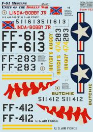 PRINT DECALS 1/32 F-51 Mustang Korean War (wet decals)