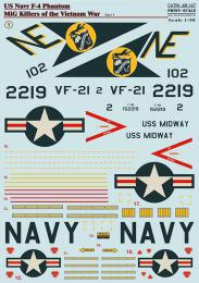 PRINT SCALE 1/48 US NAVY F-4 Phantom Vietnam I. Decals