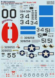 PRINT DECALS 1/48 P-38J Lightning Aces over Europe Pt. 1