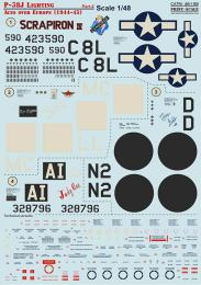 PRINT DECALS 1/48 P-38J Lightning Aces over Europe Pt. 2