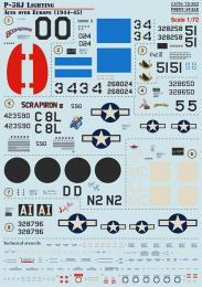 PRINT SCALE 1/72 P-38J Lightning Aces over Europe Decals