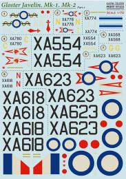PRINT DECALS 1/72 Gloster Javelin Mk.1/Mk.2 (wet decals) Pt.1