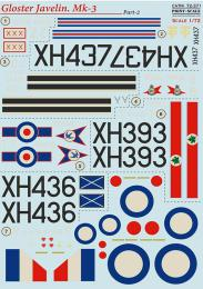PRINT DECALS 1/72 Gloster Javelin Mk.1/Mk.2 (wet decals) Pt.2