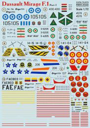 PRINT DECALS 1/72 Dassault Mirage F.1 (wet decals) Pt. 1