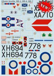 PRINT DECALS 1/72 Gloster Javelin Mk.5/Mk.6/Mk.7 (wet decals)