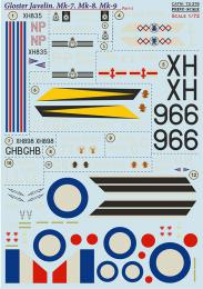 PRINT DECALS 1/72 Gloster Javelin Mk.7, Mk.8, Mk.9 (wet decals)